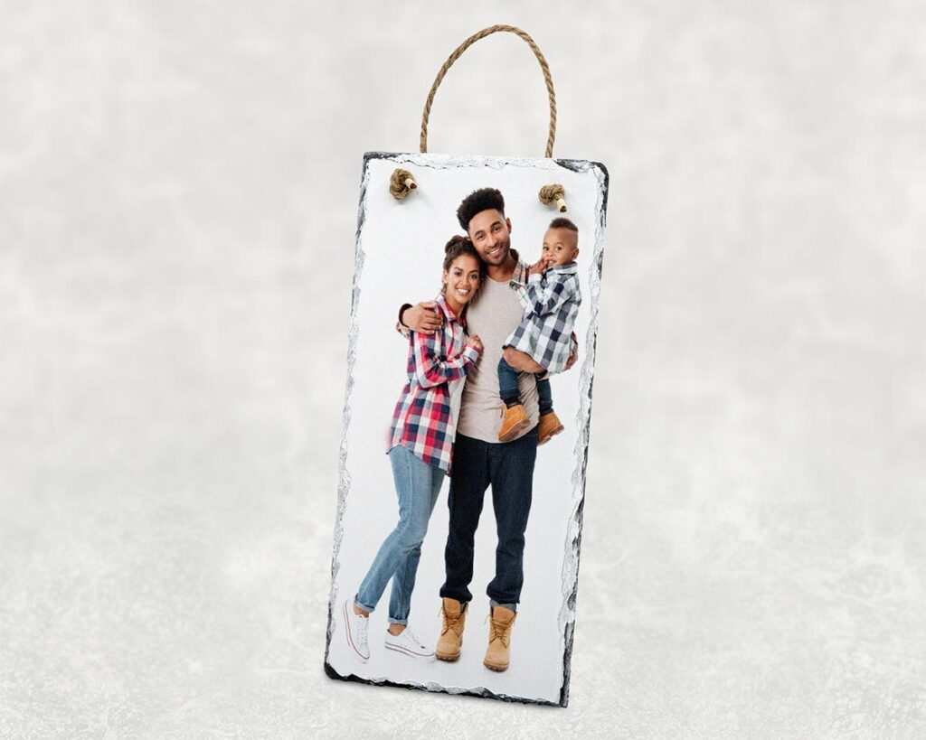Family photo printed on hanging photo slate