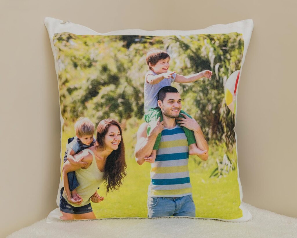 Personalised canvas photo cushion