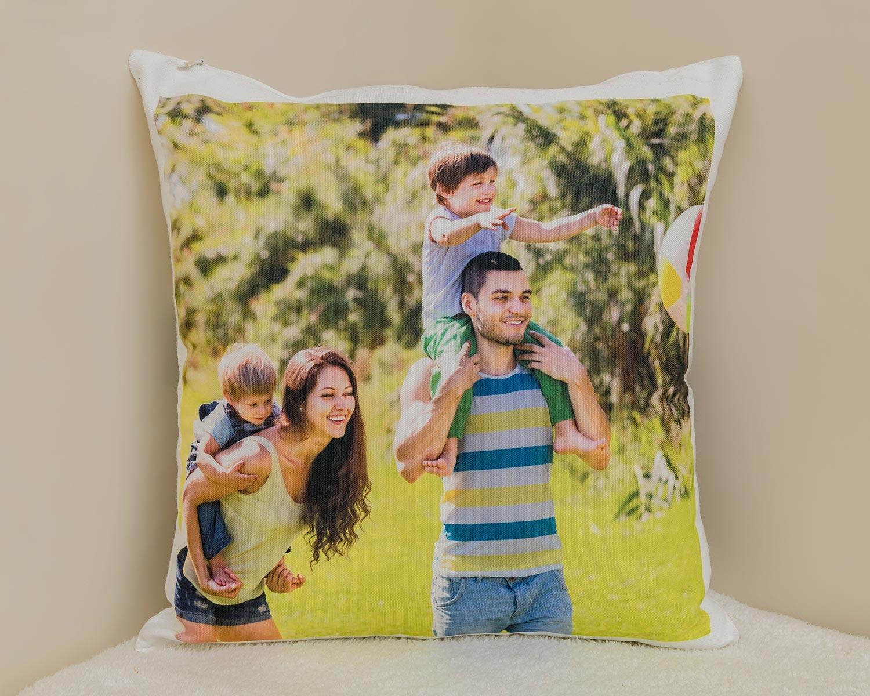 Personalised canvas photo cushion