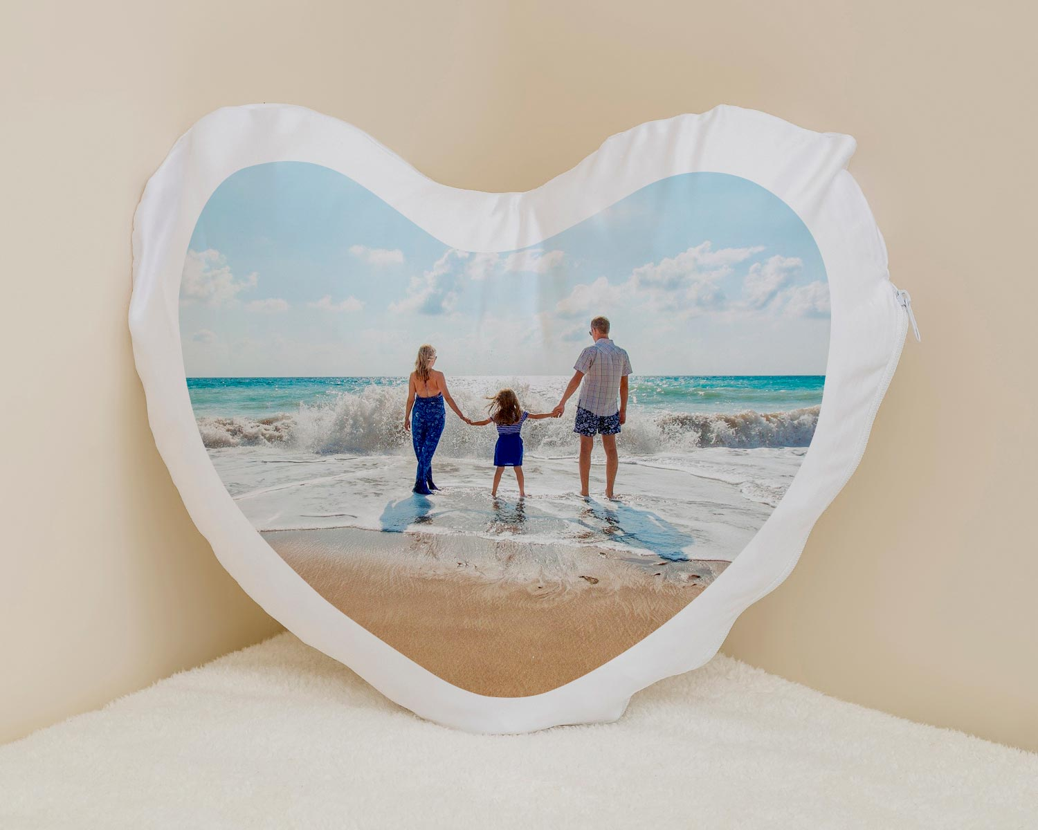 Peronalised heart shaped photo cushion