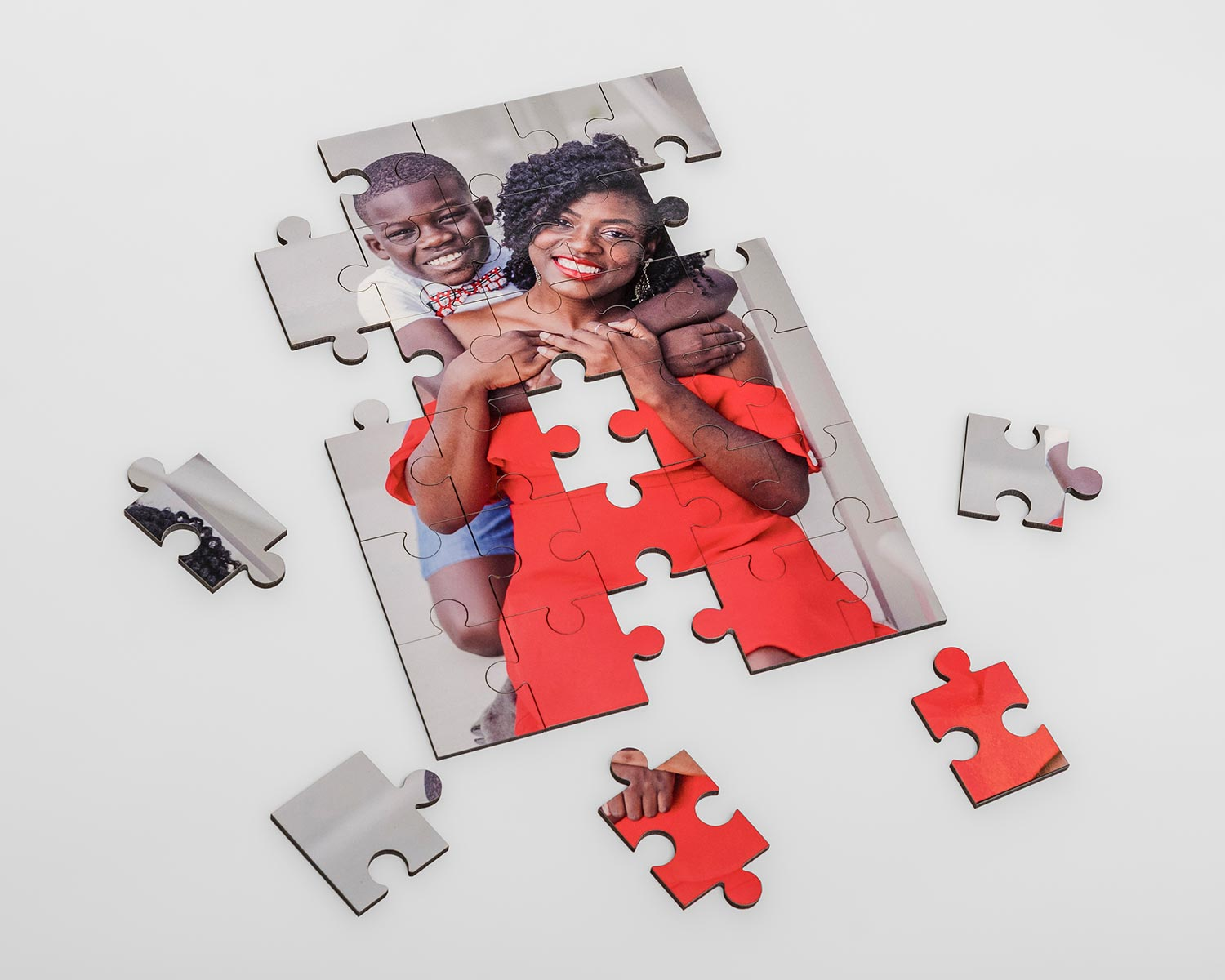 Uncompleted wooden photo jigsaw