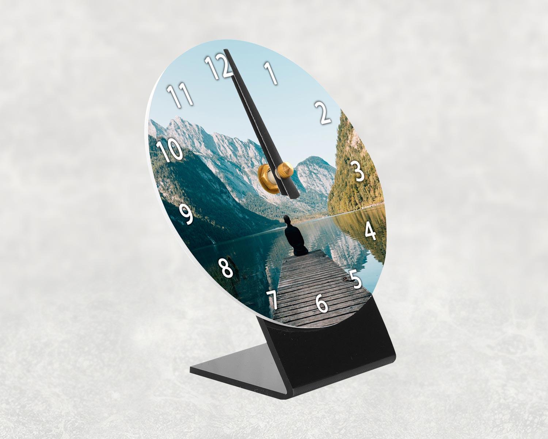 Photo desk clock side profile