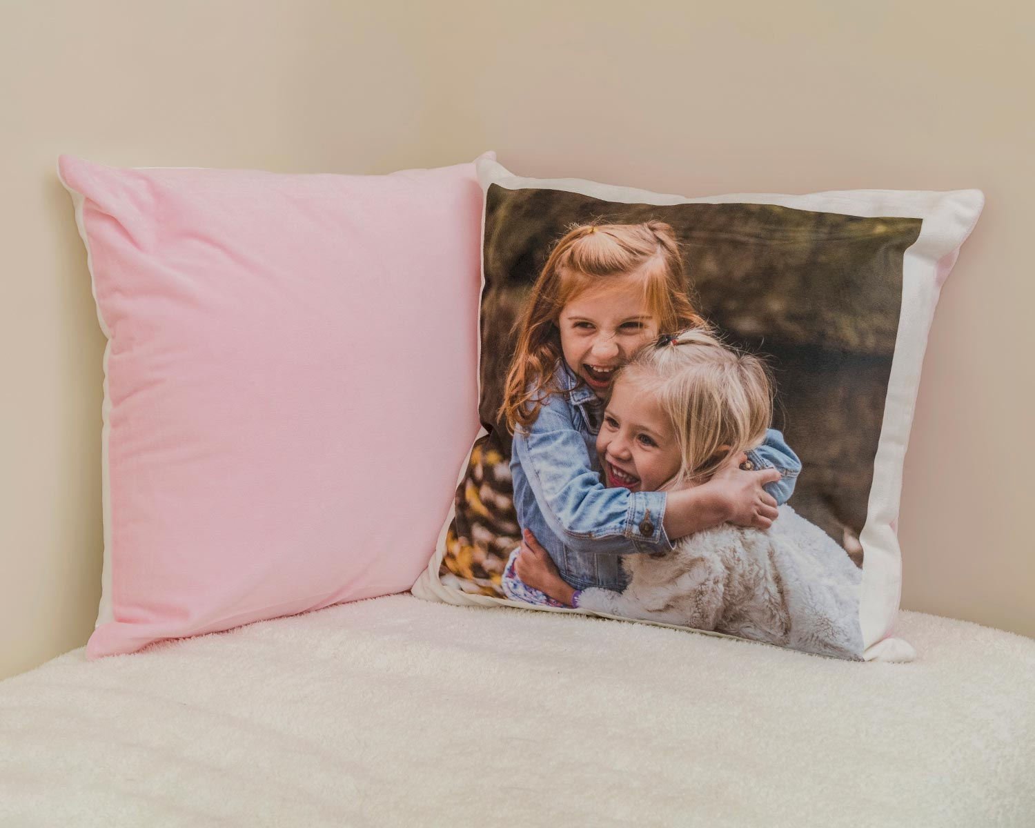 Pink soft photo cushion