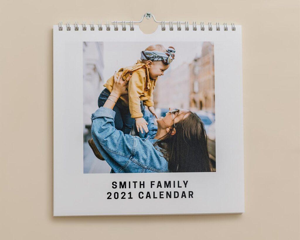 Square photo calendar cover