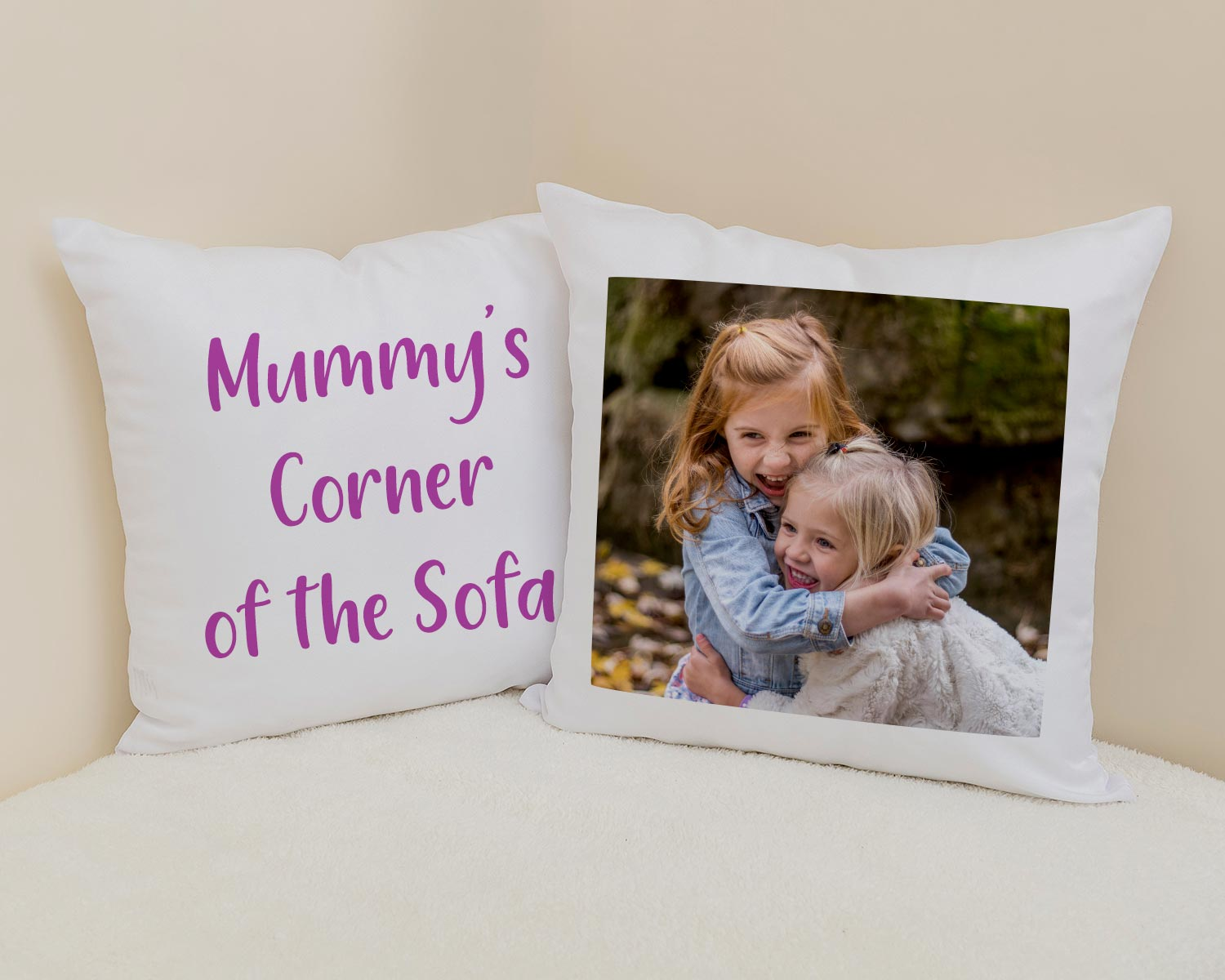 Personalised text cushion