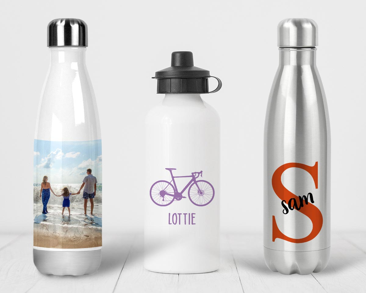 Personalised Water Bottles with photos, designs and text