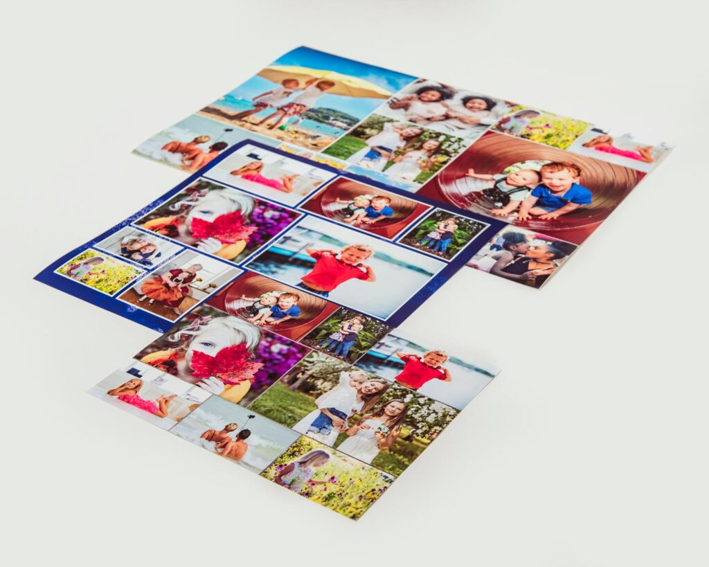 Various printed photo collages