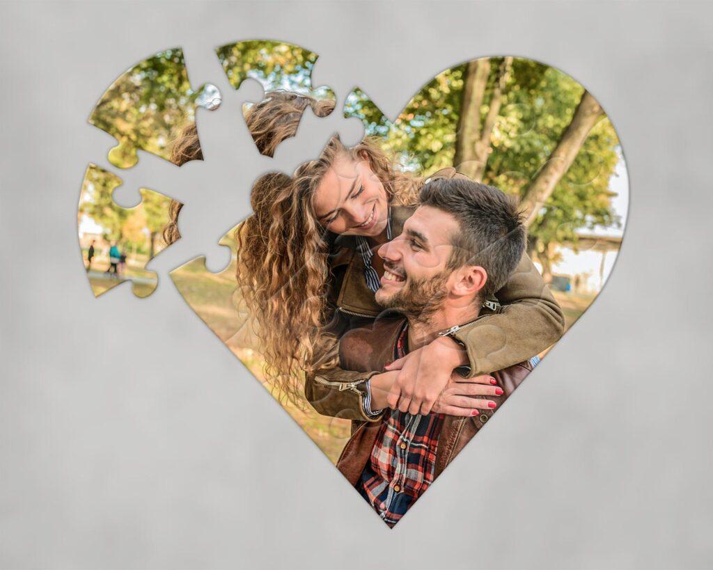 Heart shaped photo jigsaw
