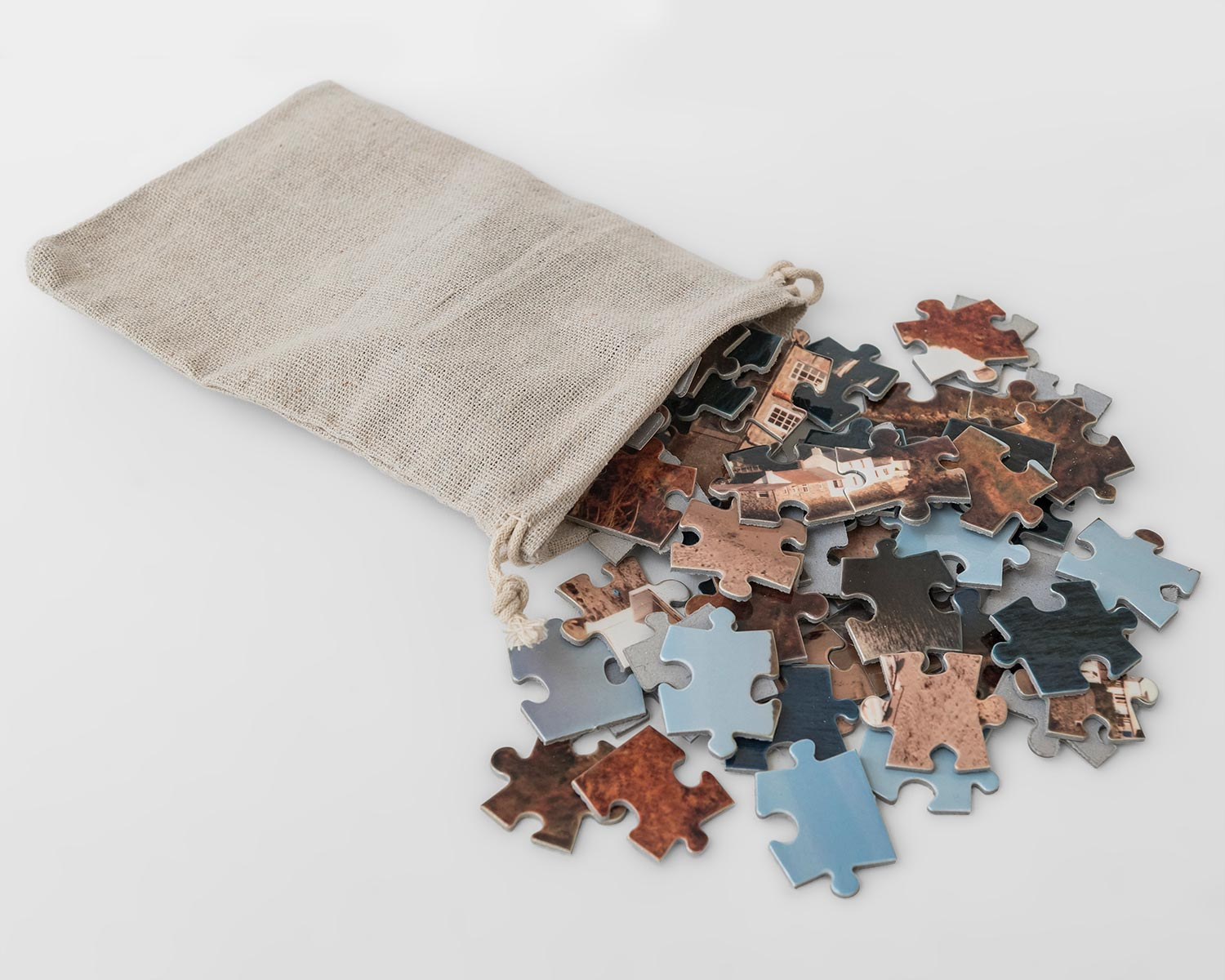 Jigsaw pieces presented in sack