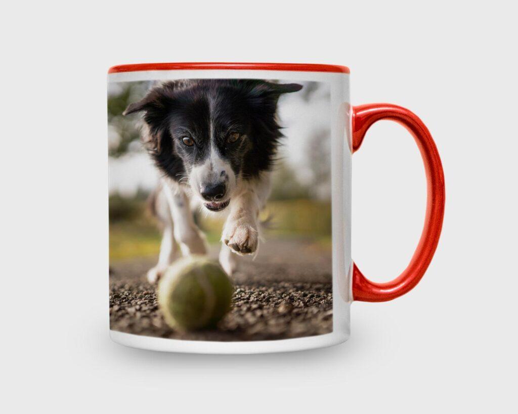 Red inner ceramic photo mug